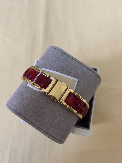 Michael Kors NWT Parker Gold-Tone and Sangria Acetate Three-Hand Watch MK6490 Image 9