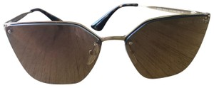 Prada Classic Cat-Eye Gold Wire Frame Mirrored Lens Sunglasses