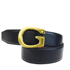 Gucci GUCCI G Logo Buckle Belt Leather Black Gold-Tone Italy