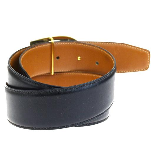 Gucci GUCCI G Logo Buckle Belt Leather Black Gold-Tone Italy Image 2