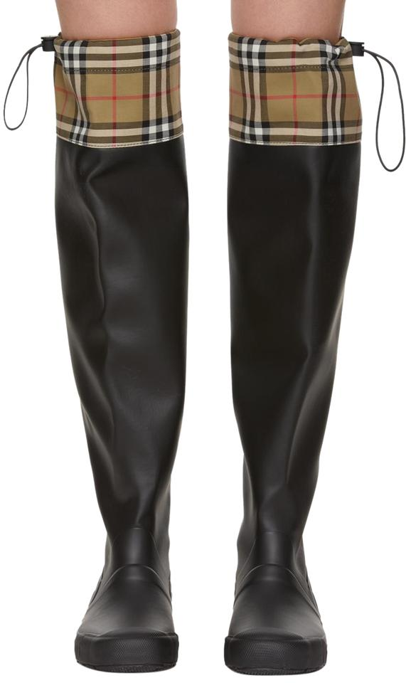a5cd93df02a51 Burberry Black Vintage Check Freddie Rubber Knee-high Rain Boots/Booties  Size EU 37 (Approx. US 7) Regular (M, B) 47% off retail