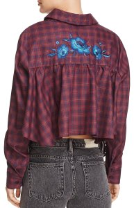 Petersyn Embroidered Plaid Longsleeve Top Wine Windowpane