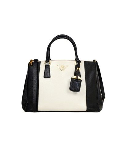 Prada Saffiano Leather Handbags Satchel in Black Image 0