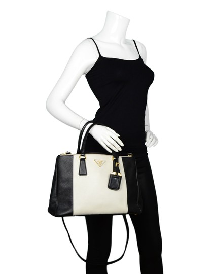 Prada Saffiano Leather Handbags Satchel in Black Image 1