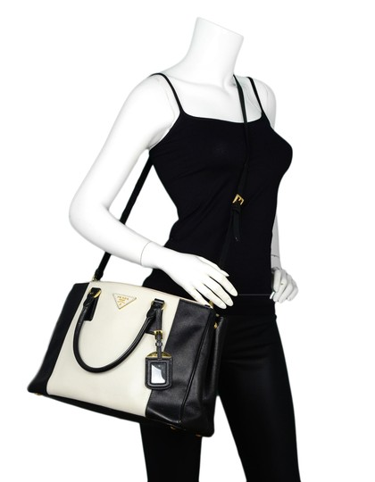 Prada Saffiano Leather Handbags Satchel in Black Image 2
