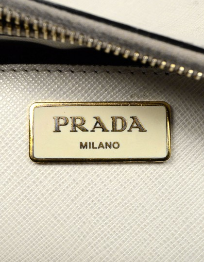 Prada Saffiano Leather Handbags Satchel in Black Image 8