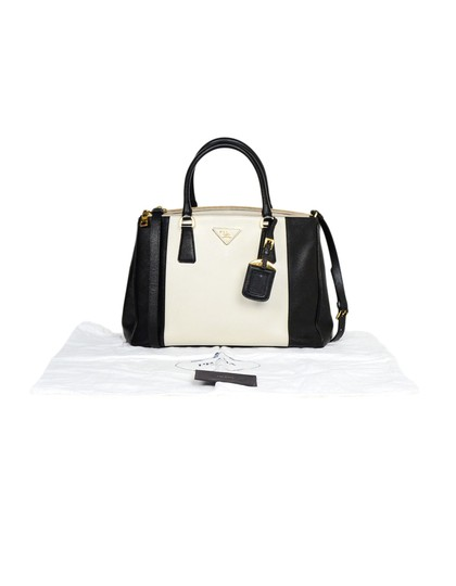 Prada Saffiano Leather Handbags Satchel in Black Image 9