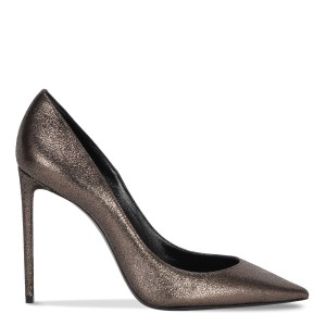 Saint Laurent Ysl Ysl Ysl Heels Metallic Grey Pumps