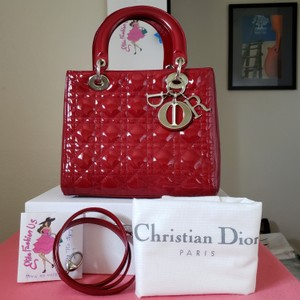 Dior Lady Lady Purse Lady Lady Medium Lady Patent Tote in Cherry red/dark red