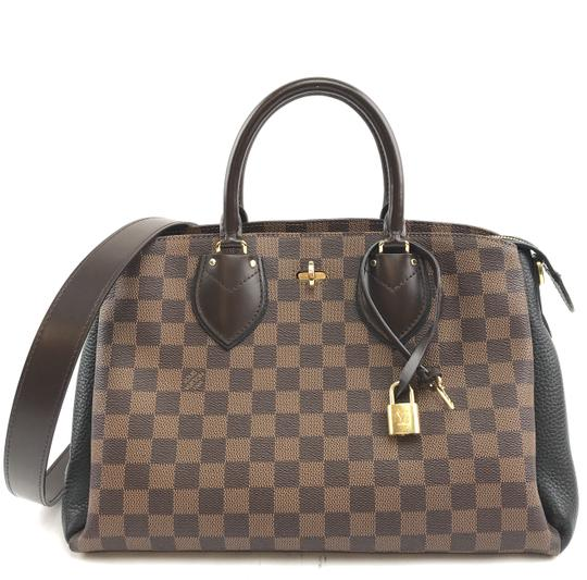 Preload https://img-static.tradesy.com/item/25301391/louis-vuitton-normandy-29209-rare-with-strap-satchel-hand-tote-damier-ebene-and-black-leather-coated-0-1-540-540.jpg