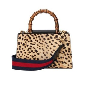 Gucci Leopard Print Handbag Leather Web Stripe Strap Shoulder Bag
