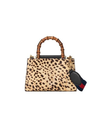 Gucci Leopard Print Handbag Leather Web Stripe Strap Shoulder Bag Image 3