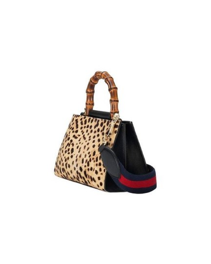Gucci Leopard Print Handbag Leather Web Stripe Strap Shoulder Bag Image 6