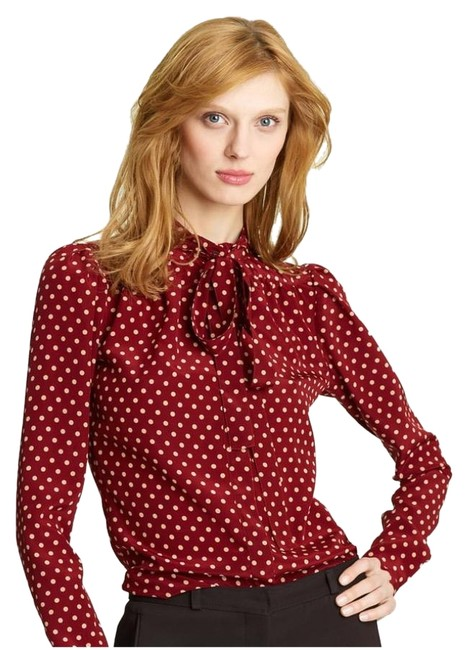 Preload https://img-static.tradesy.com/item/25301537/burberry-prorsum-red-tie-neck-dot-print-silk-blouse-size-4-s-0-1-650-650.jpg