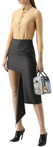 Balenciaga Women's Checkered Asymmetrical Skirt Grey