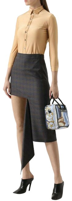 Balenciaga Women's Checkered Asymmetrical Skirt Grey Image 0