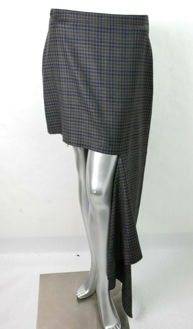 Balenciaga Women's Checkered Asymmetrical Skirt Grey Image 1