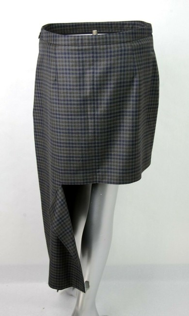 Balenciaga Women's Checkered Asymmetrical Skirt Grey Image 4