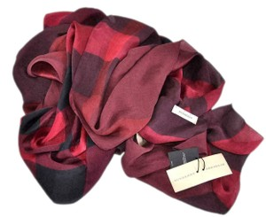 Burberry New Burberry $325 Mulberry Silk Mega Nova Check Hawthorn Red Scarf