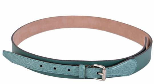 Gucci New Gucci Men's Teal Green Alligator and Leather Buckle Belt 38 95 Image 3