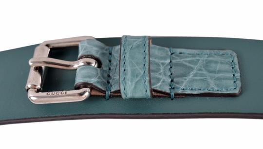 Gucci New Gucci Men's Teal Green Alligator and Leather Buckle Belt 38 95 Image 4