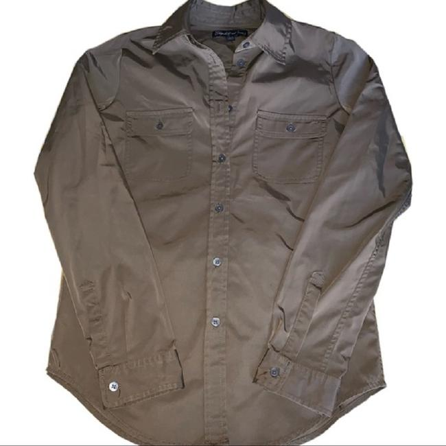 Elizabeth and James Button Down Shirt Military Green Image 3