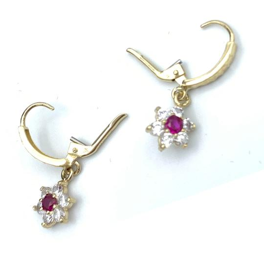 Other (856) 14k yellow gold flower earrings Image 3