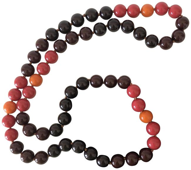 Item - Pink/Orange/Brown Long Round Beaded Necklace