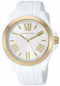 7eab10ffca09 Michael Kors Women s Bradshaw Gold-Tone and White Silicone Watch MK2730
