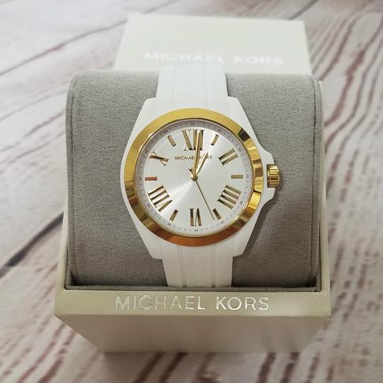Michael Kors Women's Bradshaw Gold-Tone and White Silicone Watch MK2730 Image 1