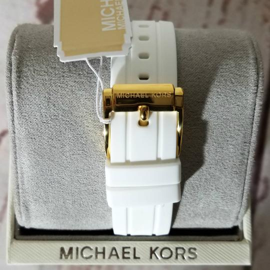 Michael Kors Women's Bradshaw Gold-Tone and White Silicone Watch MK2730 Image 10