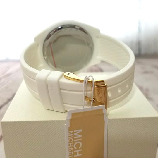 Michael Kors Women's Bradshaw Gold-Tone and White Silicone Watch MK2730 Image 11