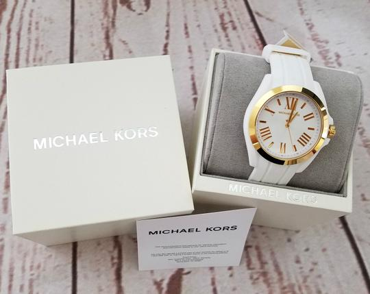 Michael Kors Women's Bradshaw Gold-Tone and White Silicone Watch MK2730 Image 2