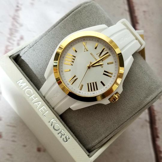 Michael Kors Women's Bradshaw Gold-Tone and White Silicone Watch MK2730 Image 3