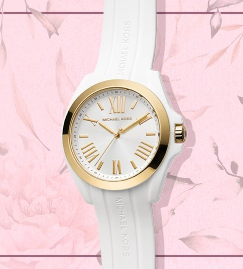 Michael Kors Women's Bradshaw Gold-Tone and White Silicone Watch MK2730 Image 7