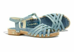 Chanel Denim Fantasy Pearl Buckle Cc blue Sandals