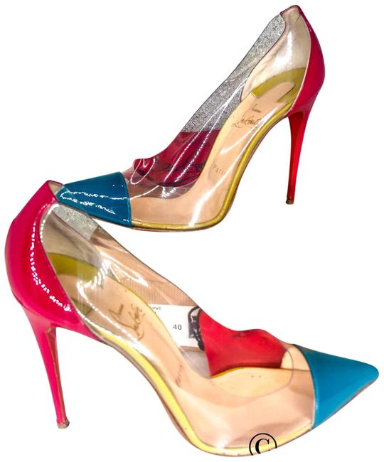 Item - Pink Blue & Gold Riviera Pvc and Patent Leather Debout 100 Pumps Size EU 40 (Approx. US 10) Regular (M, B)