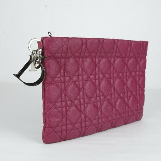 Christain Dior Quilt Coated Canvas Panerea Magenta Clutch Image 1