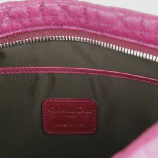 Christain Dior Quilt Coated Canvas Panerea Magenta Clutch Image 11