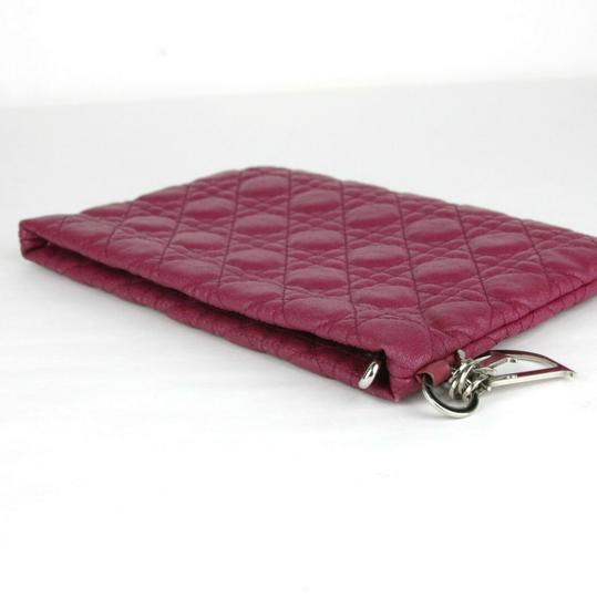 Christain Dior Quilt Coated Canvas Panerea Magenta Clutch Image 4