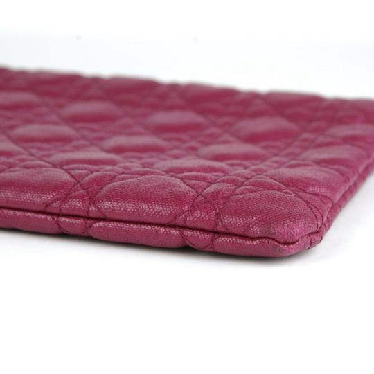 Christain Dior Quilt Coated Canvas Panerea Magenta Clutch Image 6