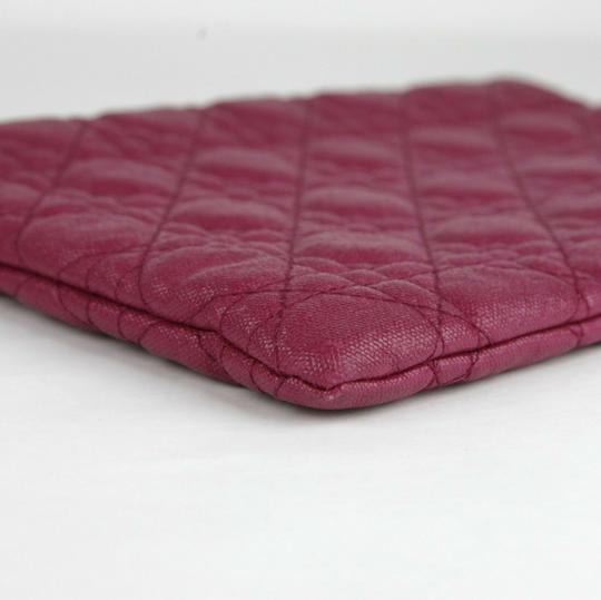 Christain Dior Quilt Coated Canvas Panerea Magenta Clutch Image 7