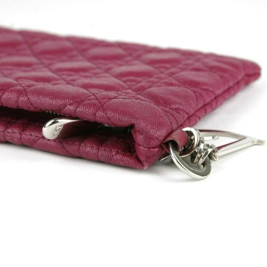 Christain Dior Quilt Coated Canvas Panerea Magenta Clutch Image 8