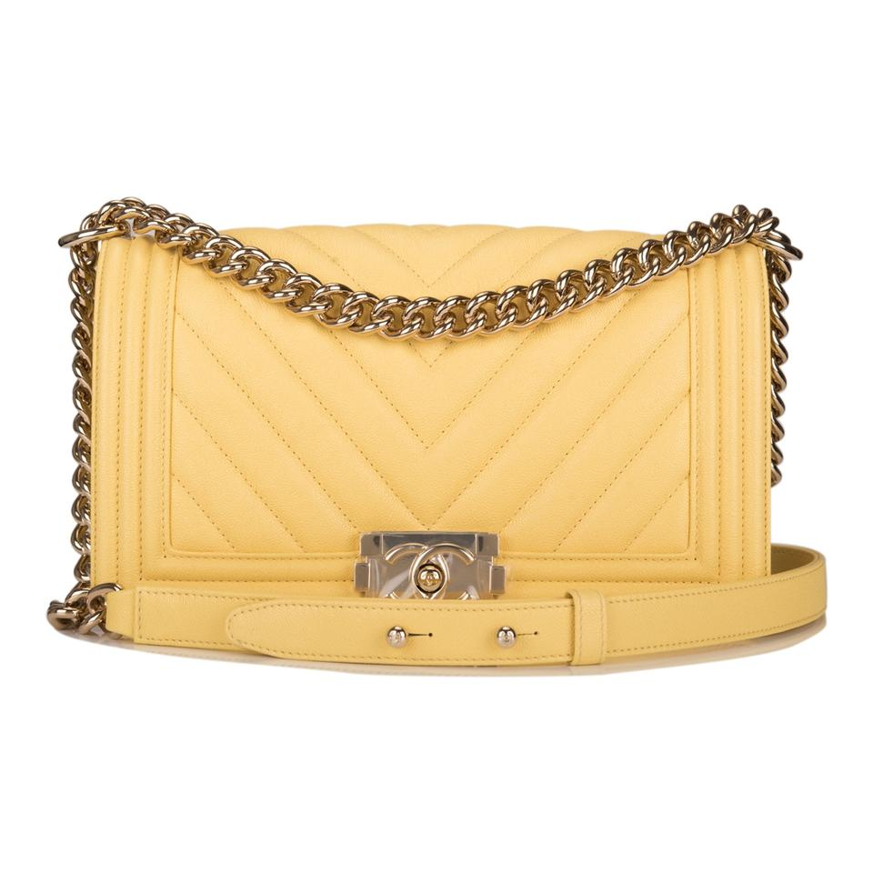 Chanel Boy Chevron Caviar Medium Yellow Leather Shoulder Bag