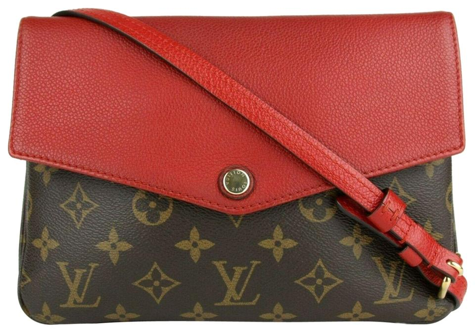 caebc9113 Louis Vuitton Pochette Twinset Twice Red/Brown Red/Brown Monogram Canvas  and Leather Cross Body Bag