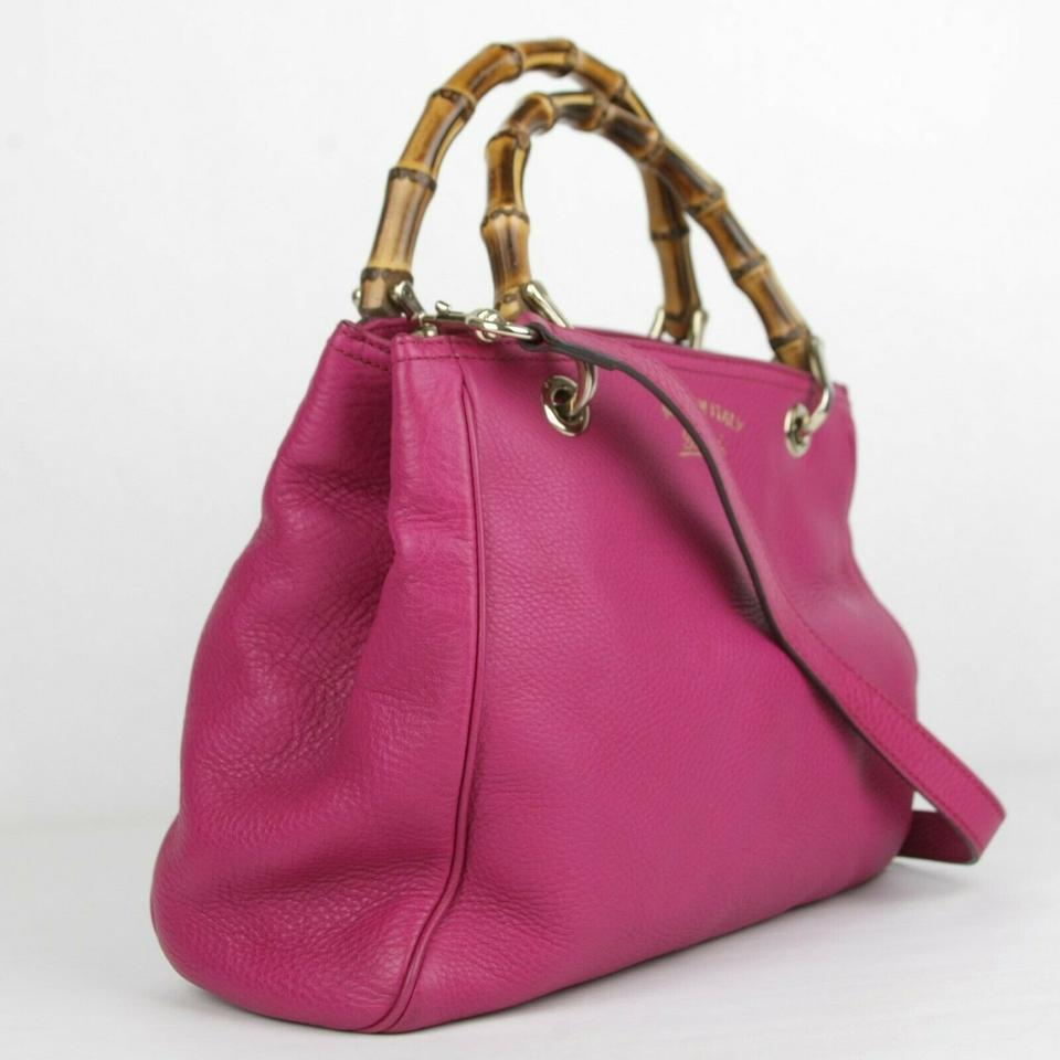 21cf2f9fcd89 Gucci Small Bamboo Handle 336032 Hot Pink Leather Cross Body Bag ...