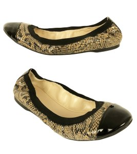 Cole Haan Leather Captoe Snake Ballet Patent Toe Animal Print Flats