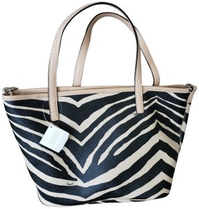 Coach Leather Tote in Tan, Black, Zebra