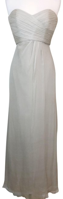 Item - Gray Strapless Crinkle Chiffon Silk Gown Long Formal Dress Size 4 (S)
