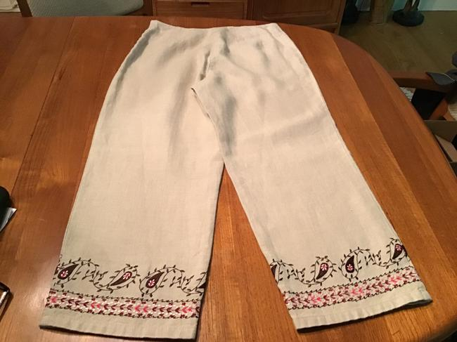 Item - Beige and Multi Color Embroidery Linen Capris Size Petite 4 (S)